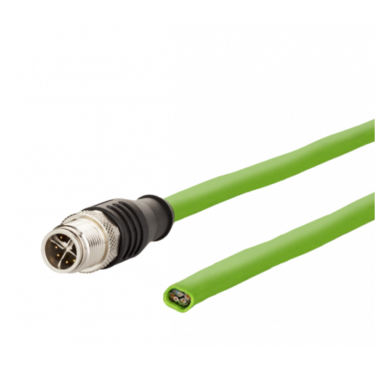Connection cable M12 plug straight - free line end 8-pole, X-coded 1.0 m