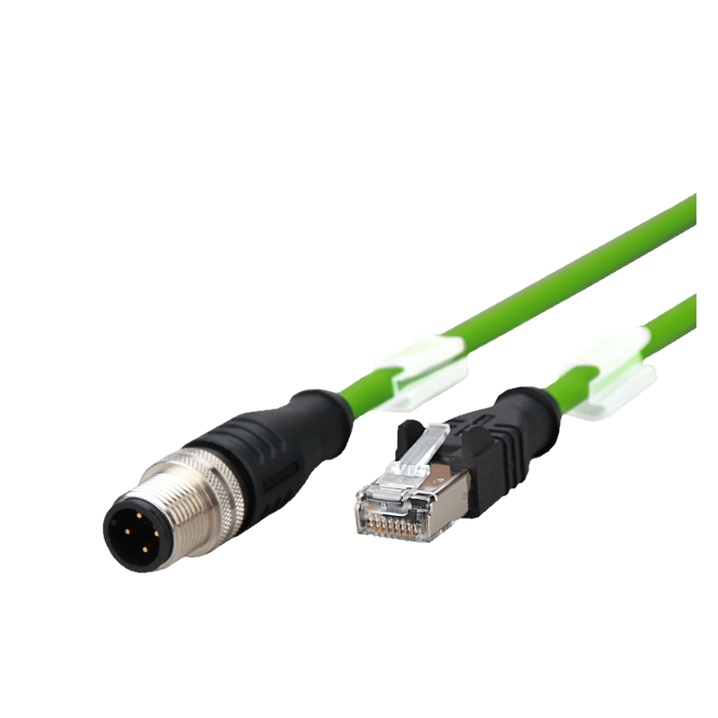 142m1d15010 Connection line M12 plug straight - RJ45 plug straight  AWG 22 4-pole, D-coded 1.0 m