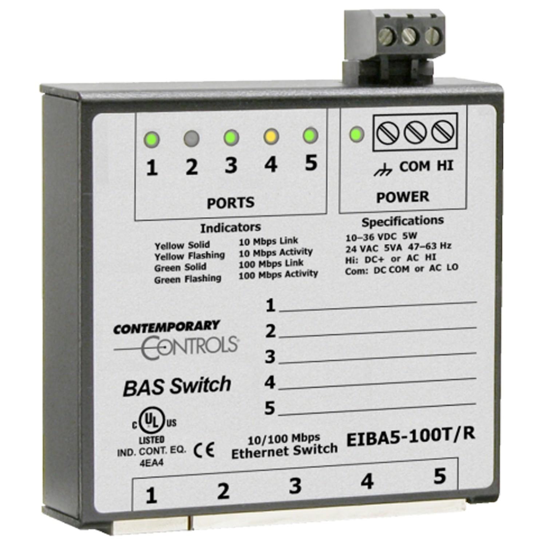 EIBA5-100T Ethernet Switch, BAS-Line Unmanaged, 5x100TX, DIN RAI