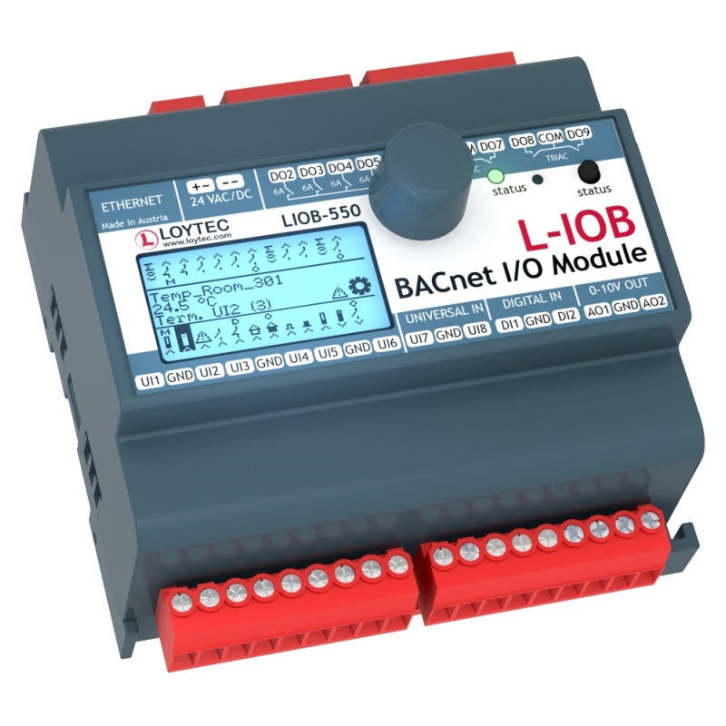 LIOB-550 8 UI, 2 DI, 2 AO, 8 DO (4 x Relay 6 A, 4 x Triac 0.5 A)