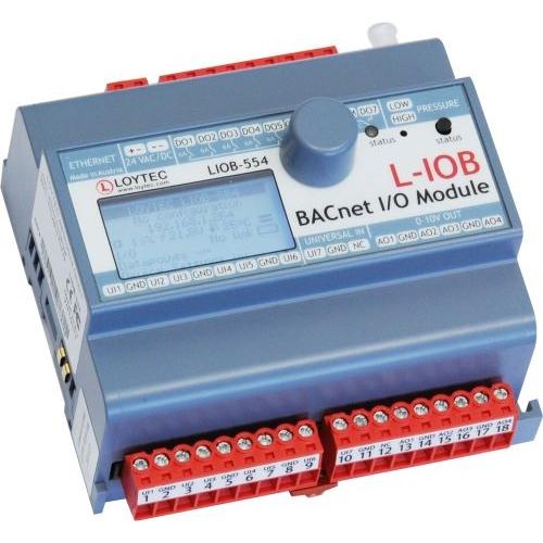 L-IOB-554  7 UI, 4 AO, 7 DO (5 x Relay 6 A, 2 x Triac 0.5 A), 1 Pressure Sensor
