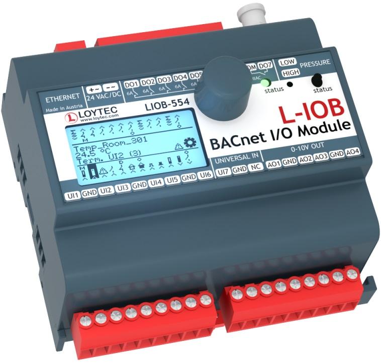LIOB-554  7 UI, 4 AO, 7 DO (5 x Relay 6 A, 2 x Triac 0.5 A), 1 Pressure Sensor