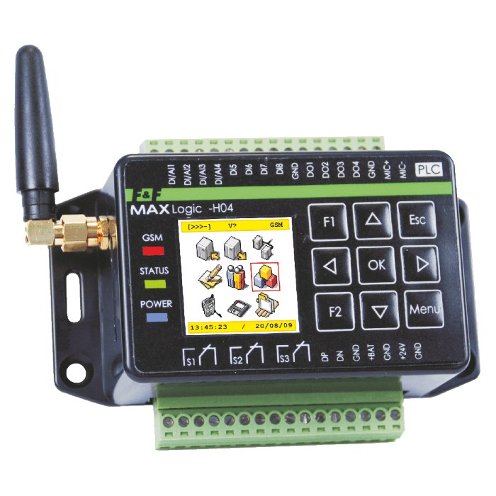 PLC MAX H04 con GSM communicator (SMS, CLIP) + Display, tasti