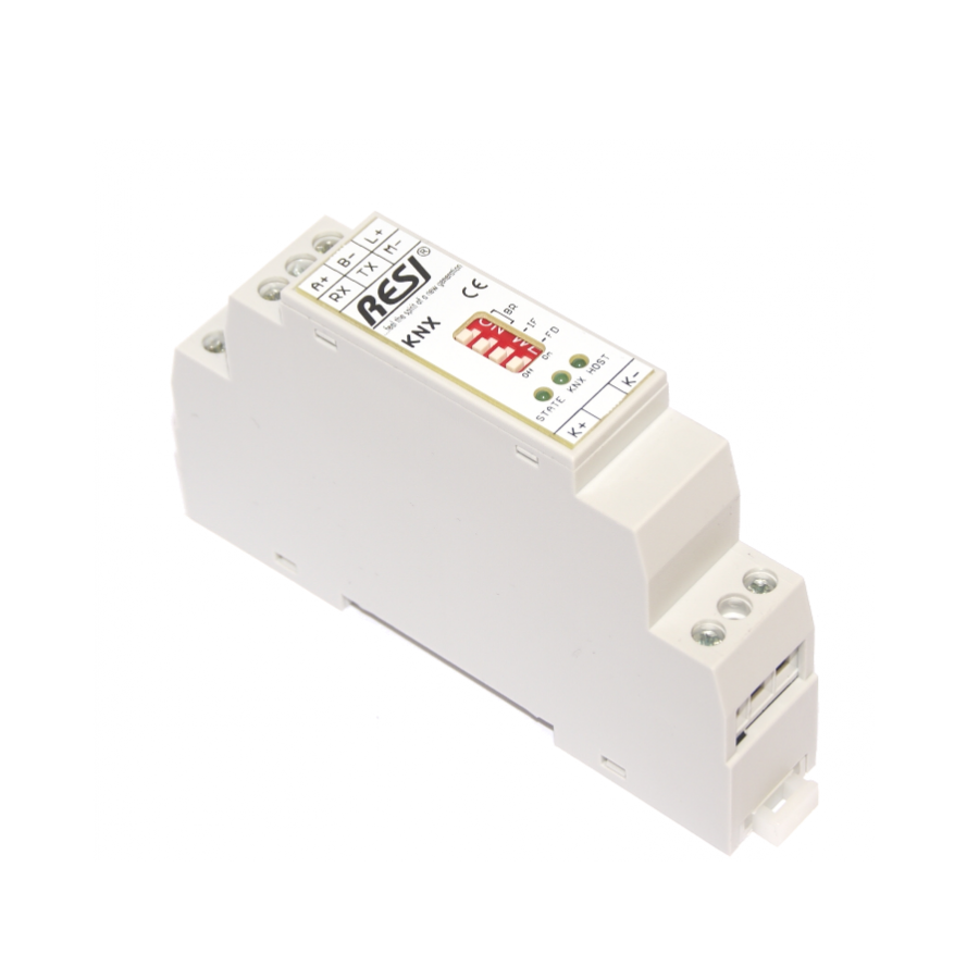 RESI-KNX-GW Serial gateway from RS232/RS485 to KNX for max. 32768 KNX group addresses.