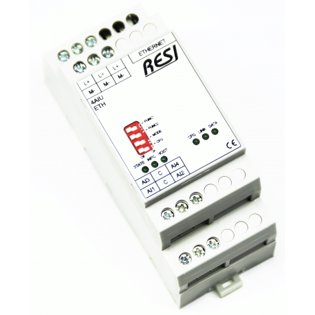 RESI-4AIU-ETH 4 analog inputs  MODBUS/TCP+ASCII server