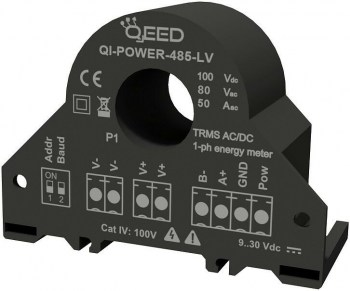 QI-POWER-485-LV   Power Meter AC/DC TRMS, ingresso in corrente 50A, ingresso in tensione 80V AC/ 100 A DC, uscita RS485 Modbus