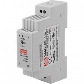 DR-15-12:AC/DC DIN RAIL Single output 15W 12Vdc 1.25A