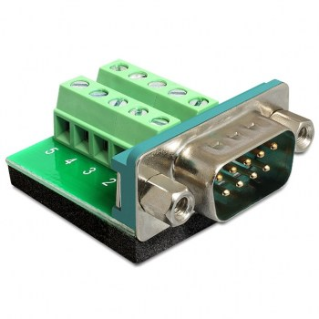 DB9M-SCREW:Adapter Sub-D 9 pin male > Terminal block 10 pin