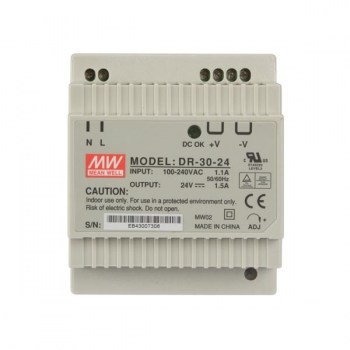 DR-30-24:AC/DC DIN RAIL Single output 30W 24Vdc 1.25A