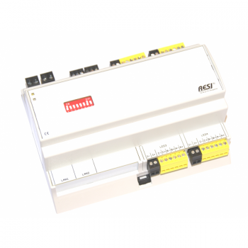 RESI-4LED-MODBUS:Serial interface module from RS485 with MODBUS/RTU slave protocol to 12 dimmable PWM LED output channels for direct connection of LED stripes (RGB, dual white or monocolour LED stripes)