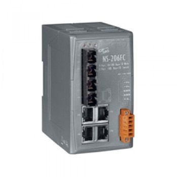 NS-206FC_CR:Unmanaged 4-Port Industrial 10/100 Base-T(X) with Dual 100 Base-FX Switch (RoHS)