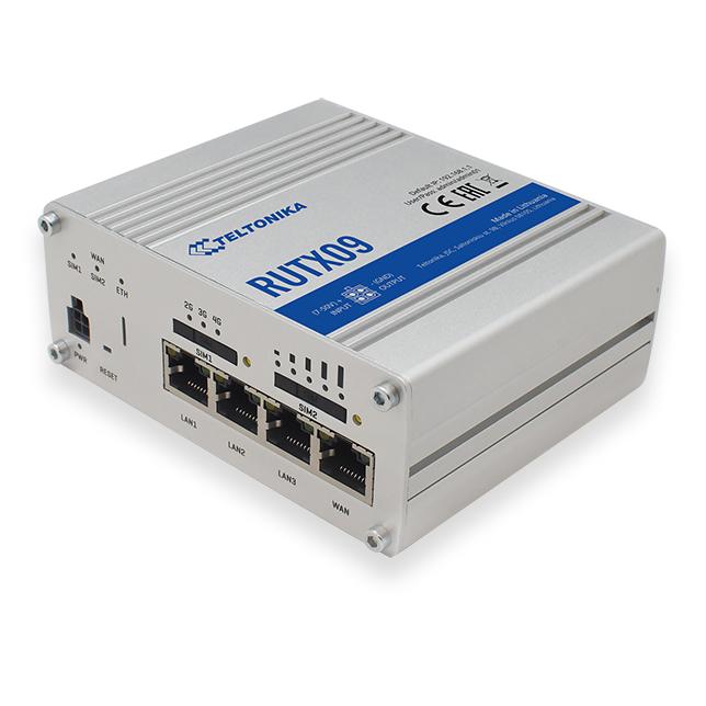 Router Teltonika RUTX09 LTE, Dual-SIM, 4 Gigabit Ethernet ports, IO, GPS