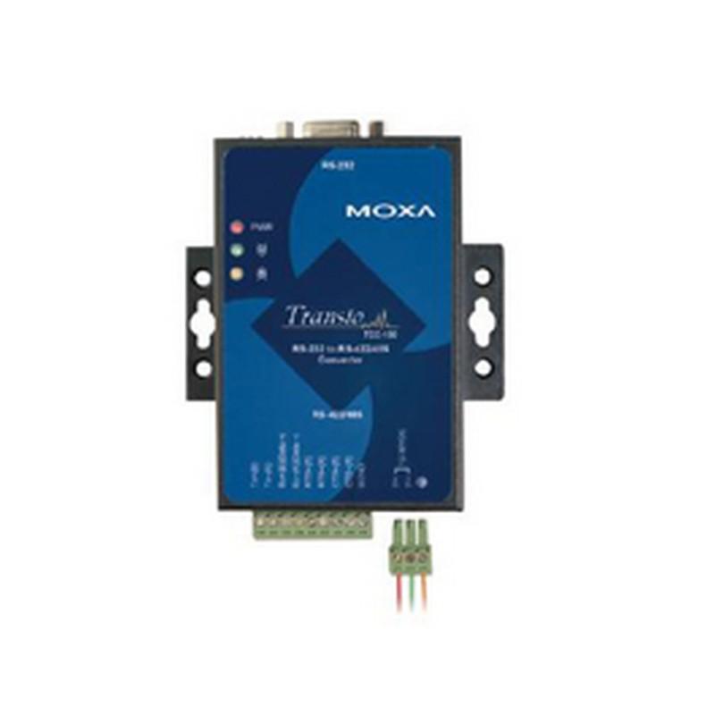 MOXA TCC-100I:Convertitore isolato industriale RS-232 a RS-422/485, con connettori RS-232 DB9 e RS-485 a morsetti