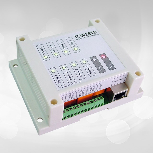 TCW181B: card with 8 relay controllable via ethernet and smartphone